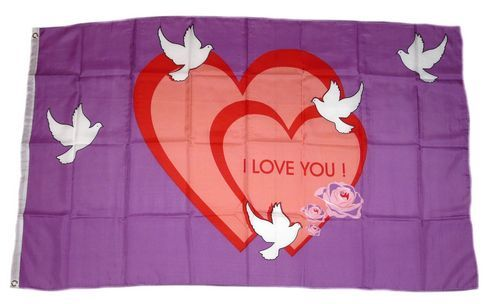 Fahne / Flagge I Love You Herz 90 x 150 cm