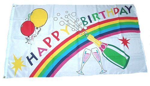 Fahne / Flagge Happy Birthday 150 x 250 cm