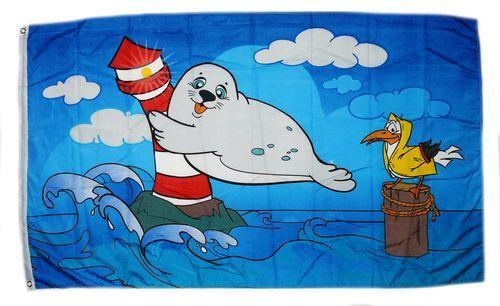 Fahne / Flagge Leuchtturm Robbe 90 x 150 cm