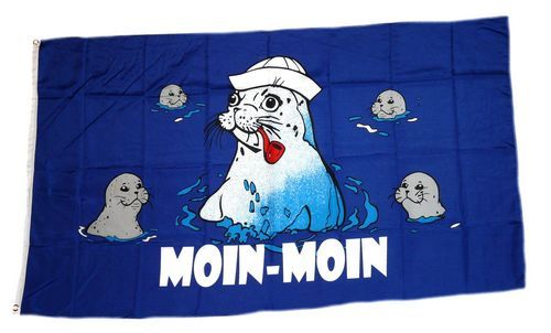 Fahne / Flagge Moin Moin Seehunde 90 x 150 cm