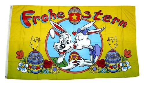 Fahne / Flagge Frohe Ostern Eier gelb 90 x 150 cm
