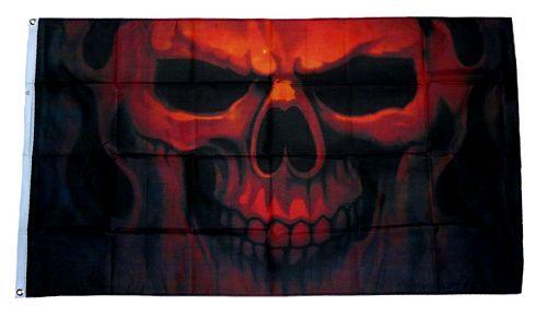 Fahne / Flagge Totenkopf Feuer 90 x 150 cm