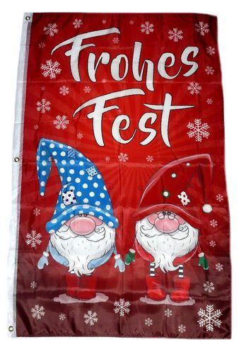Fahne / Flagge Frohes Fest Wichtel Weihnachten 90 x 150 cm
