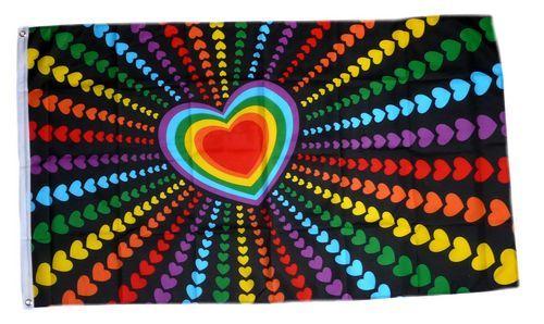 Fahne / Flagge Regenbogen Herz 90 x 150 cm
