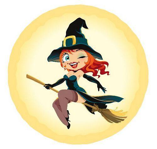 Aufkleber Sticker Halloween Hexe