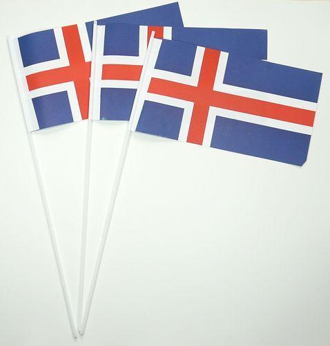 10 Papierfähnchen Island Papierfahnen Fahne Flagge