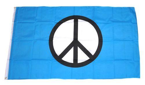 Fahne / Flagge Peace Zeichen blau 90 x 150 cm