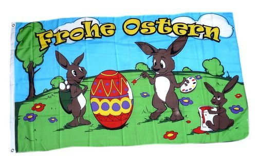 Fahne / Flagge Frohe Ostern Hasen Ei 90 x 150 cm