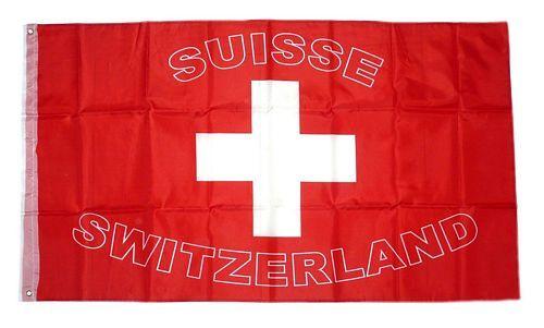 Fahne / Flagge Schweiz Schrift NEU 90 x 150 cm