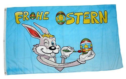 Fahne / Flagge Frohe Ostern Maler Hase 90 x 150 cm