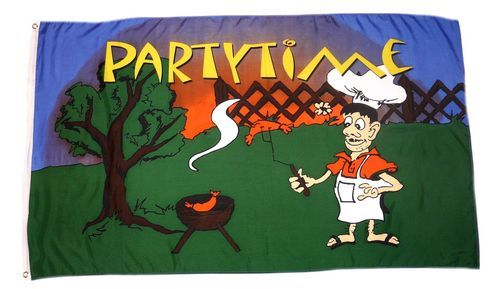 Fahne / Flagge Party Time Grillparty 90 x 150 cm