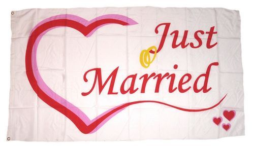 Fahne / Flagge Hochzeit Just Married 90 x 150 cm