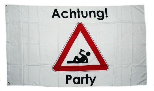 Fahne / Flagge Achtung Party 90 x 150 cm