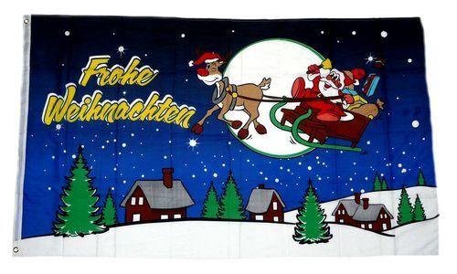 Fahne / Flagge Frohe Weihnachten Schlitten blau 90 x 150 cm