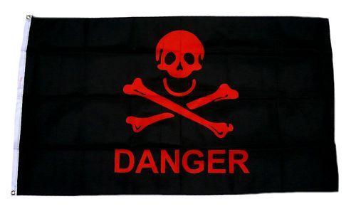 Fahne / Flagge Danger Totenkopf 90 x 150 cm