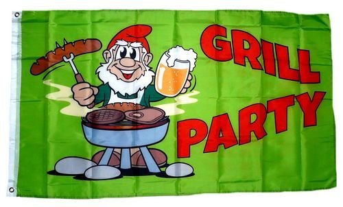 Fahne / Flagge Grillparty Gartenzwerg 90 x 150 cm