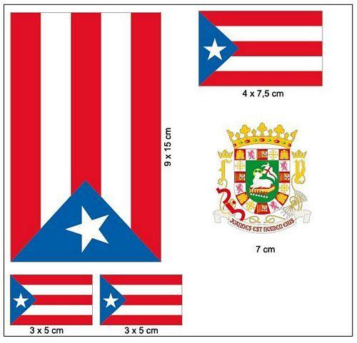 Fahnen Aufkleber Set Puerto Rico