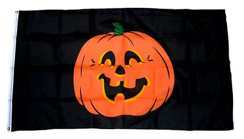 Fahne / Flagge Happy Halloween Kürbis black 90 x 150 cm
