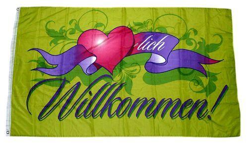 Fahne / Flagge Herzlich Willkommen Herz 90 x 150 cm