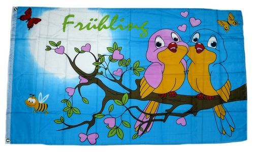 Fahne / Flagge Frühling Vögel 90 x 150 cm