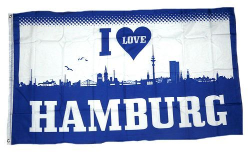 Fahne / Flagge I Love Hamburg 90 x 150 cm