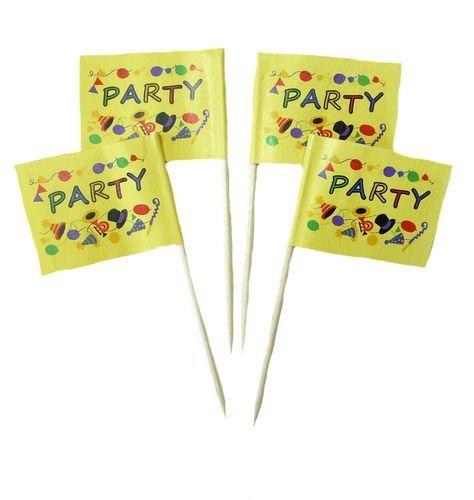 50 Minifahnen Dekopicker Party Time Fete 30 x 40 mm