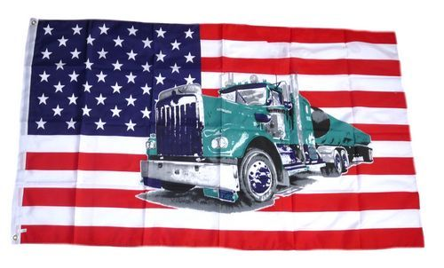 Fahne / Flagge USA - Truck LKW 90 x 150 cm