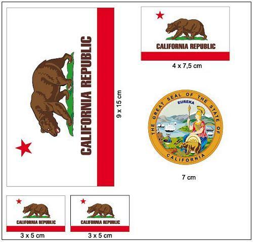 Fahnen Aufkleber Set USA - Kalifornien