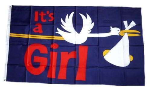 Fahne / Flagge It`s a Girl! 90 x 150 cm
