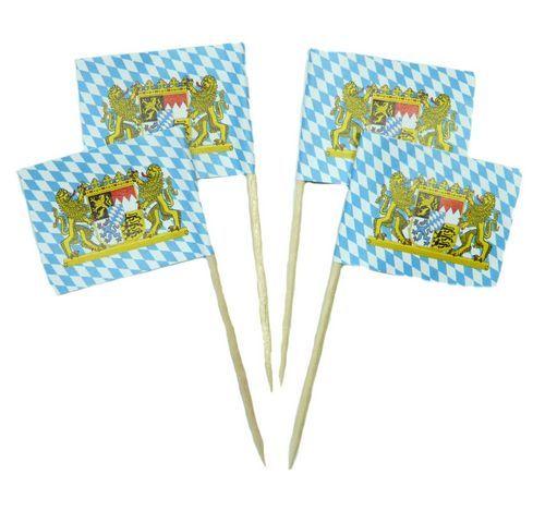 50 Minifahnen Dekopicker Bayern Löwen 30 x 40 mm