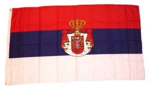 Fahne / Flagge Serbien großen Wappen 90 x 150 cm
