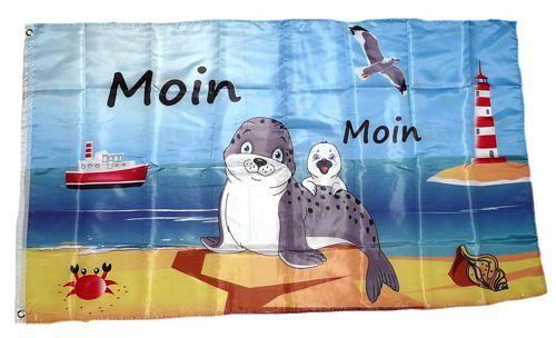 Fahne / Flagge Moin Moin Seehund Baby 90 x 150 cm