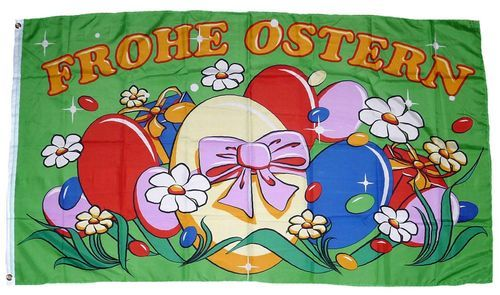 Fahne / Flagge Frohe Ostern Eiernest 60 x 90 cm