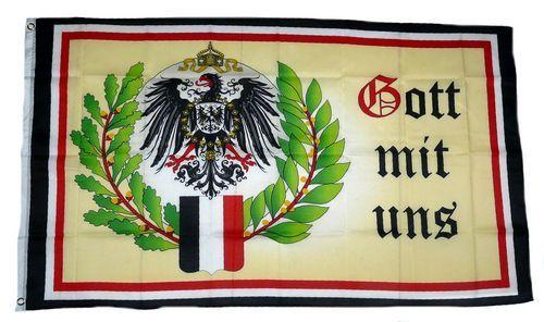 Fahne / Flagge Gott mit uns Eichenlaub 90 x 150 cm