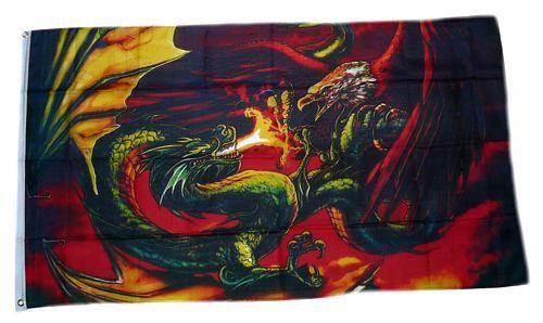 Fahne / Flagge Drache gegen Adler 90 x 150 cm