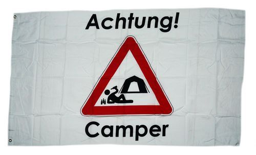Fahne / Flagge Achtung Camper 90 x 150 cm