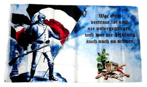 Fahne / Flagge Deutsches Reich Wer Gott vertraut 90 x 150 cm