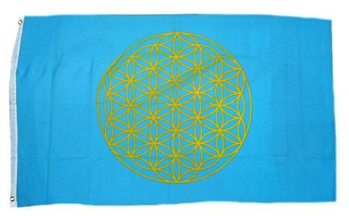 Fahne / Flagge Blume des Lebens blau 90 x 150 cm