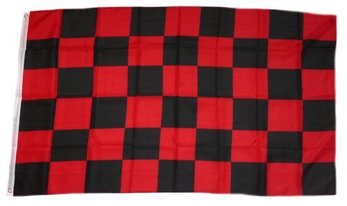 Fahne / Flagge Karo rot / schwarz 90 x 150 cm