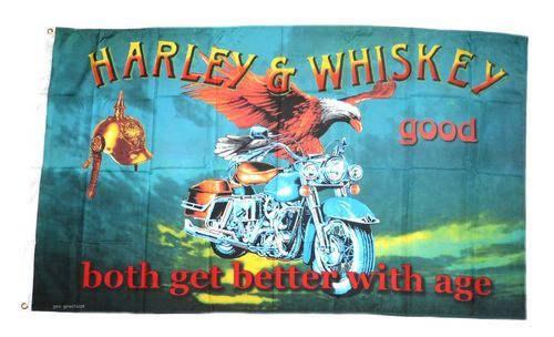 Fahne / Flagge Harley & Whiskey 90 x 150 cm