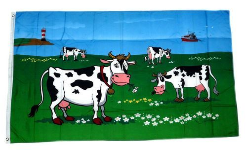 Fahne / Flagge Kühe an der Küste 90 x 150 cm