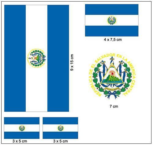 Fahnen Aufkleber Set El Salvador