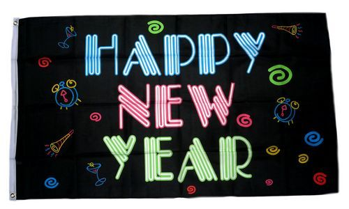 Fahne / Flagge Happy New Year black 90 x 150 cm