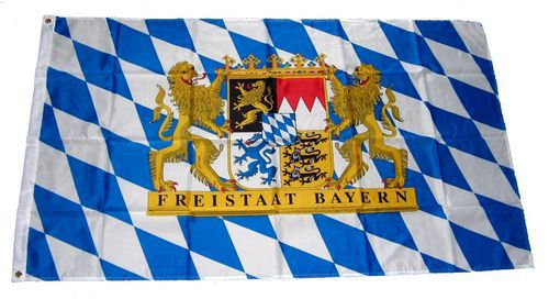 Flagge / Fahne Freistaat Bayern Löwen Schrift Hissflagge 90 x 150 cm