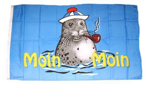 Fahne / Flagge Moin Moin Seehund Pfeife 90 x 150 cm