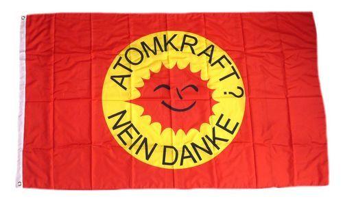 Fahne / Flagge Atomkraft Nein Danke! rot 90 x 150 cm