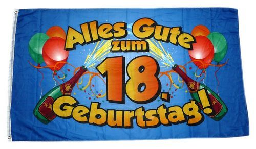 fahne flagge alles gute zum 18 geburtstag blau feste anl sse fun sonstiges fahnenwelt. Black Bedroom Furniture Sets. Home Design Ideas