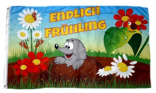 Fahne / Flagge Endlich Frühling 90 x 150 cm