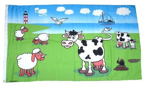 Fahne / Flagge Kühe & Schafe an der Küste 90 x 150 cm