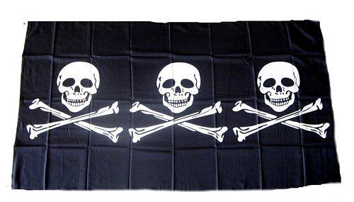 Fahne / Flagge Pirat 3 Skull 90 x 150 cm